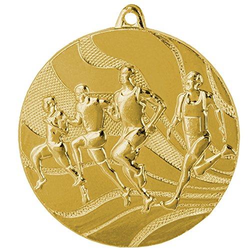 pokalspezialist 10 Stück Medaille Gold Laufen/Leichtathletik aus Stahl, 50 mm x 3 mm MMC2350
