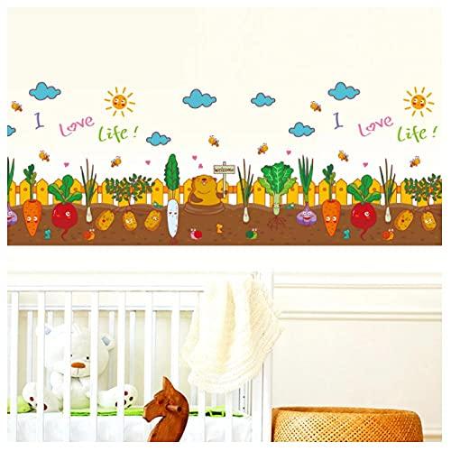 KBIASD Verduras pegatinas de pared DIY dibujos animados suelo mural calcomanías para habitaciones de niños dormitorio de bebé niños guardería zócalo decoración del hogar 115x63cm