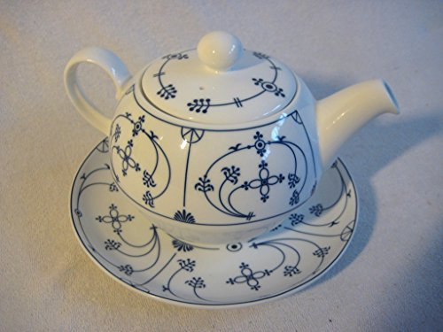 magicaldeco - Juego de 3 platillos para Tetera (Porcelana, 0,4 L), diseño Indio, Color Azul