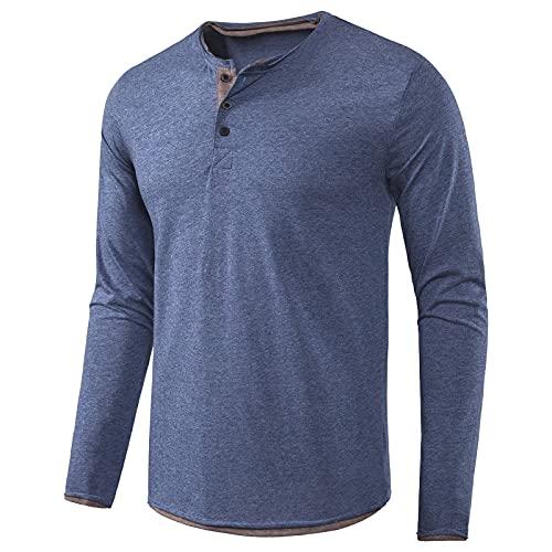 Camiseta Hombre Decathlon Ropa de Hombre de Manga Larga Camiseta de Otoño Camiseta de Hombre Color Sólido
