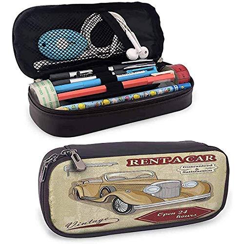 Estuche para lápices Alquiler de autos antiguos Ilustración comercial Imprimir con llaves...
