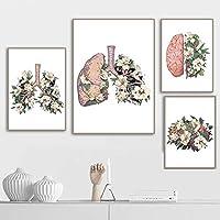 花のような肺ハートブレイン人間の壁アートキャンバス絵画北欧のポスターとプリント壁の写真ドクターズオフィス  40x6030x42cmcmx3Pcs /フレームなし