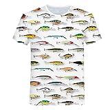 Sunofbeach Unisex 3D Camiseta Divertidas Impresa Personalizada Verano Casual tee Shirts, Cebo de Pesca Coloridos,XXXL