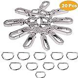 Jakago Lot de 20 anneaux en D et crochets pivotants en métal pour sac à main, bagages, porte-clés
