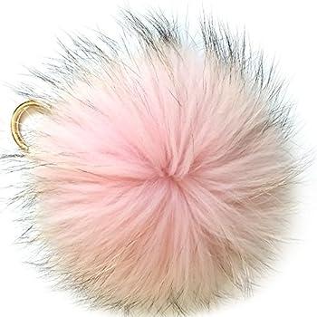 Valpeak 6   Fluffy Raccoon Fur Ball Pom Pom Keychain Womens Bag Charms Key Chain  Pink