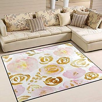 MNSRUU Area Rug Rose Gold Pink Floral Entry Carpet Nursery Rugs for Living Room Bedroom Playroom Rug 63 x48  Clearance