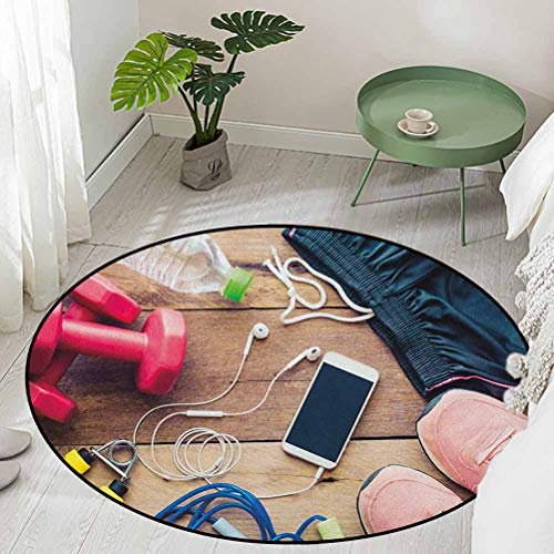 Round Floor Mats for Living Room Sportswear Running Shoes Cell Phone Water Fitness Preparations Activity Accessories Diameter 54 inch Best Floor mats