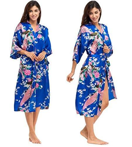 HUANSUN Batas de satén para Novias Bata de Boda Ropa de Dormir Pijama de Seda Albornoz Casual Rayón Animal Camisón Largo Kimono de Mujer XXXL, como Muestra la Foto 12,4XL