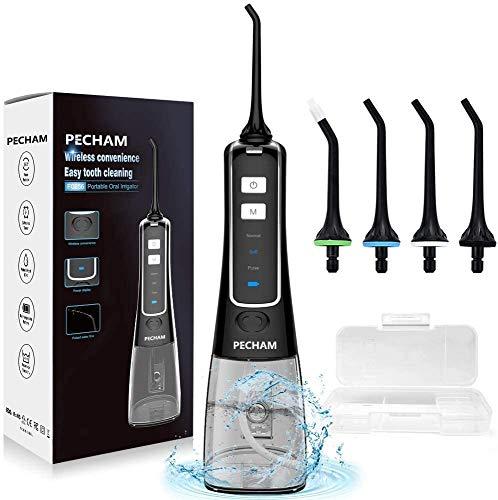 Irrigador bucal dental,Limpiador de dientes con hilo dental inalámbrico INSMART 300ML con estuche de puntas para el hogar y los viajes,Flosser de agua para el cuidado bucal IPX7 de 3 modos