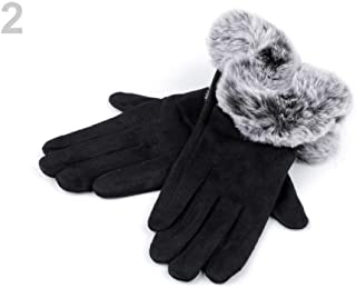 1pr 2 (vel. L) Black Ladies Gloves with Faux Fur, Fall and Winter, Fashion Accessories