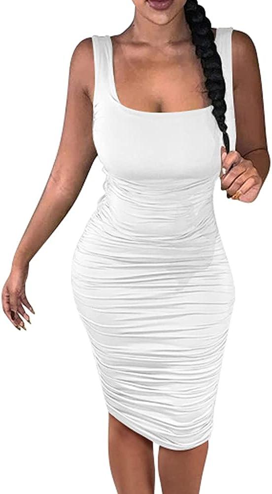 Max 80% OFF BEAGIMEG Women's Sleeveless Stretchy Bodycon Fi Regular discount Ruched Midi Tank