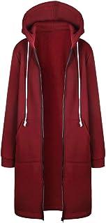 Xmiral mantel dames ritssluiting lange jas bovenstuk effen winter capuchon jas