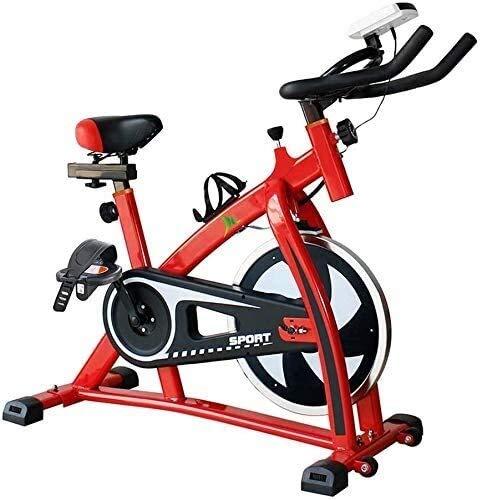 MGIZLJJ Ciclos de Ejercicio Bicicleta de Ejercicio máquinas de Cardio Entrenamiento, Manillar Ajustable del Asiento LED Distancia (Color : Red)