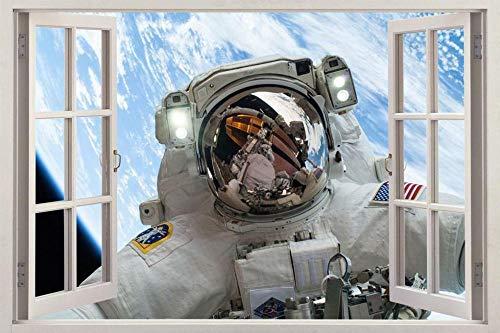 MXLYR Wandtattoo Astronaut Space 3D Fenster Ansicht Aufkleber Grafik Wandaufkleber Art Deco Wandbild