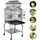 Yaheetech Cage Oiseaux avec Toiture Triple-A Cage sur roulettes avec Support Détachable pour Perruche Canaries Calopsitte Inséparable Mandarin