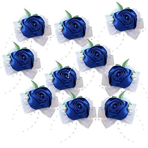 Nobranded 10 Piezas de Ramillete de Muñeca Artificial Flores Rosa Pulseras Elásticas en
