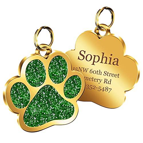 Happy Muse Chapa Perro Grabada, Etiquetas de identificación de Perro Personalizadas, con Grabado láser, Placa Perro Gold Paw,teléfono con Nombre Grabado Personalizado(Verde)