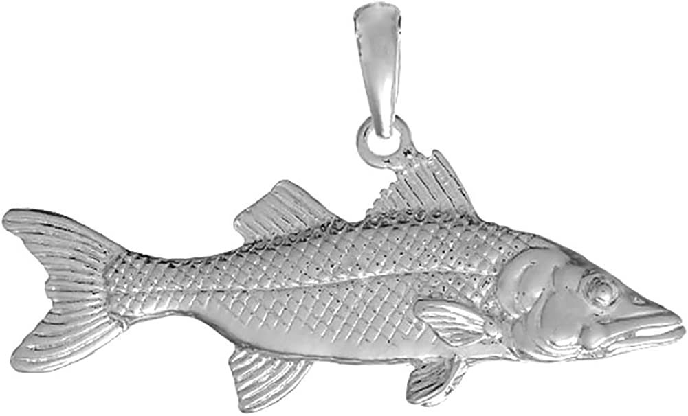 925 Sterling Silver Nautical Charm Snook Fish Pendant 3D Now Classic on sale
