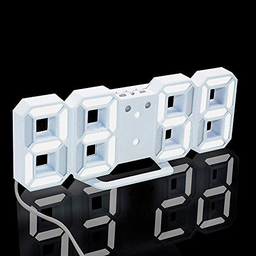 QIGUANDZ 3D Digital Alarm Clock, Modern Night Light Clock, Best Decorative LED Number Time Clock for The Wall