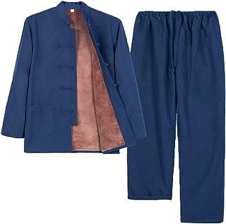 Winter Cotton Tang Suit Set Plus Velvet Men Thick Tai Chi Uniform Long Sleeve Chinese Traditional Clothes Tops Pants,Hanfu...