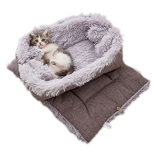 LONGCHAO Katzenbett Waschbare 2 in 1 Katzenbett Plüsch Weich Katze Schlafen Bett Katzensofa Flauschige Katzenbett Katzendecke (Grau)