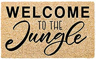 Printed Indoor/Outdoor PVC Backed Natural Coir Doormat - Welcome to The Jungle