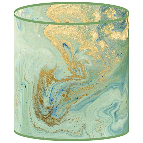 LampPix 10.00 Inch Table Lamp Shade - Marble Green Canvas Desk Lampshade (Spider Fitting)