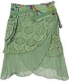 GURU SHOP Extravaganter Wickelrock mit Stickerei, Seitlicher Kleinen Tasche, Damen, Grasgrün, Baumwolle, Size:38, Röcke/Kurz Alternative Bekleidung