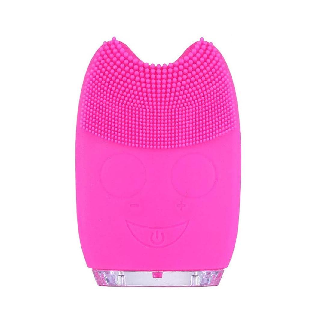 ソニックフェイシャルクレンジングブラシマッサージャー充電式電気シリコーン剥離フェイススクラブブラシ (色 : 赤, サイズ : 9.8*6.4*3cm)