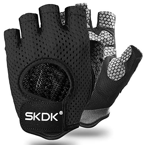 Fingerless Gloves Breathable Workout Exercise Gloves Fitness Gloves Mitten , Shock-Absorbing Foam Pad Palm,Man/Women Gym Gloves for Fitness,Bodybuilding,Cycling Crossfit Exercise Gloves (Black, M)
