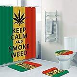 SHUOFUSH Reggae Rasta Keep Calm and Smoke Weed Cortinas de Ducha Jamaica Reggae Music Quote Baño Cortina Esteras Juego de alfombras Aseo Decoración del hogar