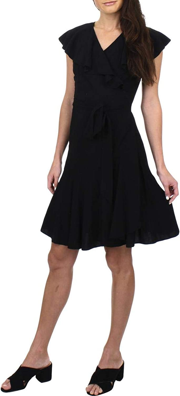 Juicy Couture Black Label Womens Flirty Ruffled Sleeveless Wrap Dress