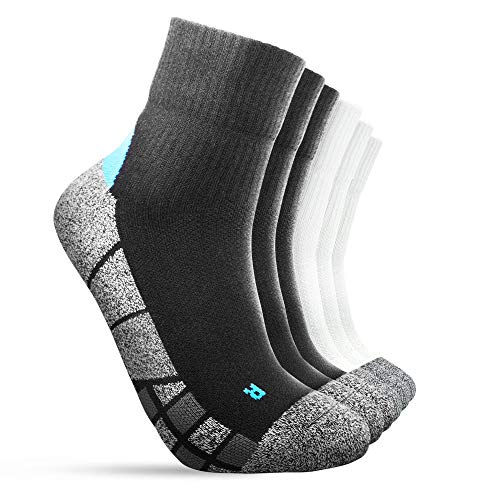 ACCOF 6 Pares Calcetines Deportivos Hombre Calcetines de Tobillo Antideslizantes Absorción del Sudor Calcetines Cómodo y Respirable Caminar Deportes al Aire Libre con Cojín