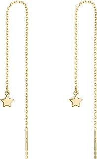 OwMell A Pair 925 Sterling Silver Tassel Threader Dangle Earrings Long Chain Ear Line for Women