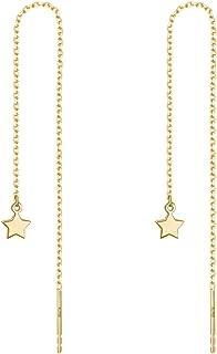 A Pair 925 Sterling Silver Tassel Threader Dangle Earrings Long Chain Ear Line for Women
