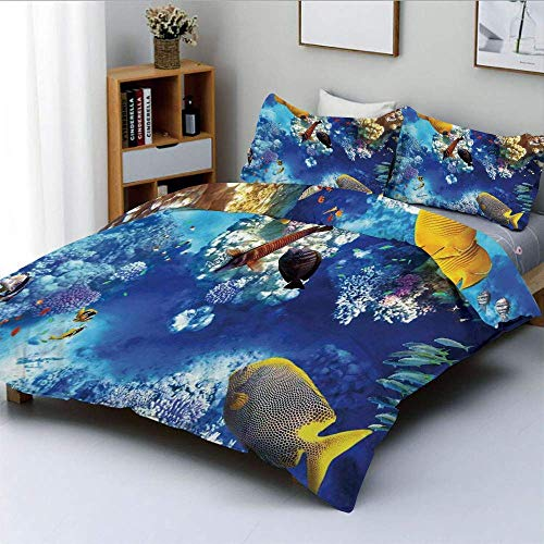 Juego de Funda nórdica, Wild Underwater Sea Animal Aqua World Corals Tropical Fish and Stingray Juego de Cama Decorativo de 3 Piezas con 2 Fundas de Almohada, Azul Marino y Amarillo, p