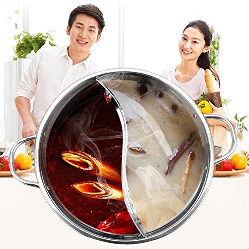 Hemore 3Hot Pot Shabu-Topf aus Edelstahl, 2-Kammer-Prinzip, Induktionskochtopf, leicht zu reinigen, Heimzubehör