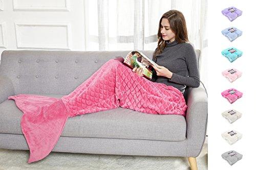 DecoKing 31599 Mermaid Flosse Decke 190 cm Microfaser Meerjungfrau Sirene Fischschwanz Mikrofaser Kuscheldecke Fleece Schlafsack kuschelig warm Amarant rosa pink Siren