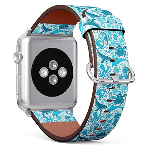 R-Rong kompatibel Watch Armband, Echtes Leder Uhrenarmband f¨¹r Apple Watch Series 4/3/2/1 Sport Edition 38/40mm - ?Ocean Underwater Whale, Dolphin, Turtle, Starfish, Crab, Octopus Pattern