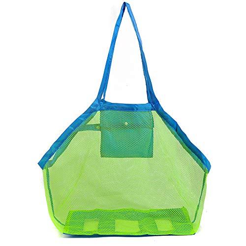 Limeo Netztasche für Sandspielzeug Strandtasche Aufbewahrung Netz Tasche Sandspielzeug Kinder Aufbewahrungsnetz Sandspielzeug Strand Strandspielzeug Tasche Beachbag Faltbar (45 * 45cm)