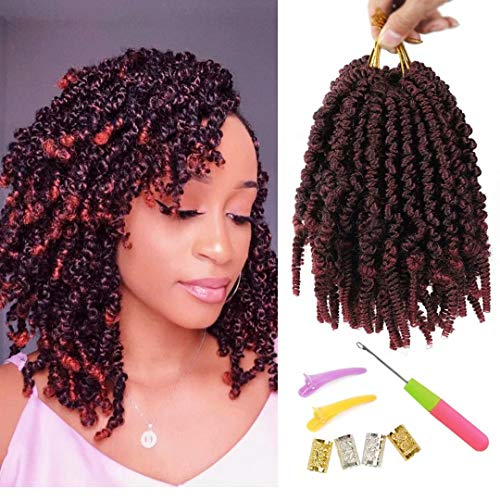 6 Packs Pre-twisted Spring Twist Hair 8 inch Pre-Twisted Passion Twists Crochet Braids For Bob Spring Twists Short Curly Bomb Twist Braiding Hair Hair Extensions (8''6Pcs-T1B BUG)