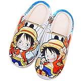 Zapatillas Cómodas de Espuma Viscoelástica para Mujer Hombre Cosplay de Anime Japonés para ONE PIECE Monkey D. Luffy Pantuflas de casa Zapatos con suela de goma antideslizante,Vistoso,35/36EU