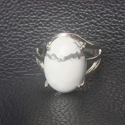 Anillo abierto para mujer, ajustable, vintage, simple, mosaico ovalado, turquesa, blanco, anillo de piedra, joyería de plata unisex, regalos para bodas, graduación, cumpleaños, promesa de cumplea