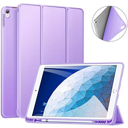 Ztotop Case for iPad Air 10.5' (3rd Gen) 2019/iPad Pro 10.5' 2017 with Pencil Holder, Ultra Slim Soft TPU Back and Trifold Stand Cover with Auto Sleep/Wake Full Body Protective Smart Case, Purple