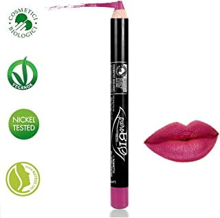 PuroBIO Certified Organic Highly-Pigmented and Long-Lasting ALL-in-ONE Lipstick, Blush, Lipliner NO 21 Magenta. Made with Apricot Oil, Soy Oil. ORGANIC.NICKEL TESTED. MADE IN ITALY