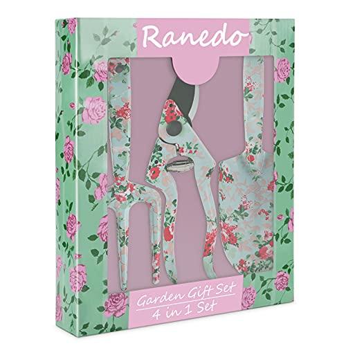 Gardening Gifts, Ranedo Garden Tools Set with Floral Pattern, Gardening...