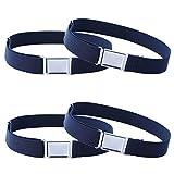 4PCS Kids Boys Adjustable Magnetic Belt - Big Elastic Stretch Belt with Easy Magnetic Buckle (4pcs Navy Blue)
