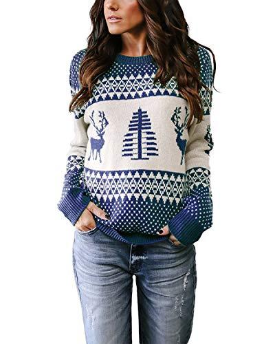 YOINS Suéter Punto Mujer Invierno Suéteres Navideños Jersey de Cuello Redondo Camiseta Manga Larga Jerséis Basico Suelto Jerseys Camisa Mujer Primavera Otoño Azul S