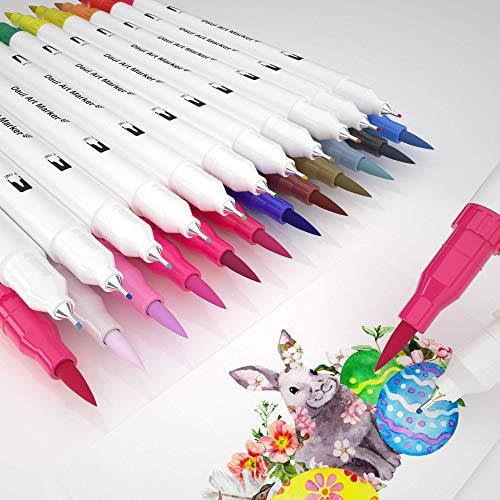 Dual Brush Pen,24 Colori Pennarelli Acquarelli con punta fine e punta brush per disegnare, disegnare, progettare prodotti, calligrafia, manga, belle arti (bianco)