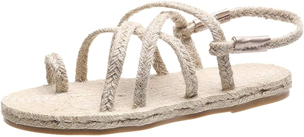 Sandals for Women's Fashion Casual Roman Beach Shoes Comfort Breathable Flat Open Toe Weave Sandals